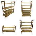 2, 4 & 6 Tier Stackable Wooden Storage Book Shelves Case Shoe Rack Stand