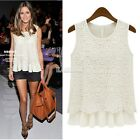 New Ladies Women Lace Blouse Sleeveless shirt vest Doll Chiffon Tops 2 Colors