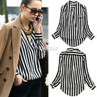 Charming Women's Striped T Shirt Long Sleeve OL Career Chiffon Blouse Tops EA