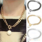 Queen Style Ladies Simple Metal Chain Collar Pearl Necklace Pendant Jewelry BD2U