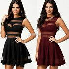 SEXY CUT OUT BANDAGE MESH PANEL mini TOWIE STYLE SKATER DRESS BLACK DARK RED EA