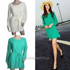 Summer Women Chiffon A- Line Long Sleeve Mini Dress With Belt Solid Color New