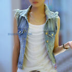 Women Distressed Ripped Waistcoat Denim Vest Sleeveless Jacket Vintage Chic Blue