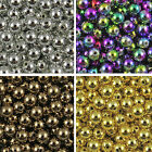 50 to 400 Metallic Coloured Acrylic Round Spacer Beads - 4mm, 6mm, 8mm & 10mm