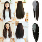 Women's Lady Long Straight/Curly Wavy Half Wig Full Hair Hairpiece 3 Colors