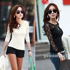 2014 Women Floral Lace Hollow Sheer Cotton Slim Casual Tee T-Shirt Tops Size S M