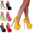 Womens Strappy Ladies Party Summer Platform High Heel Sandals Shoes Size 3-8
