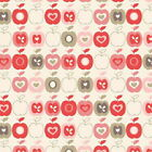FLO APPLES SLATE / CORAL - FLO'S GARDEN by MAKOWER 100% COTTON FABRIC PATCHWORK