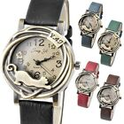 Fashion Womens Bronze Case Cat & Flower Quartz Analog Watch,PU Band