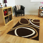 NEW Soft Quality Modern Brown Beige Circle Patterned Long Hallway Runner Rugs