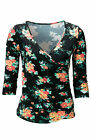 Black Floral Print Top Size 6 8 10 12 14 16 Wrap Effect Stretch Jersey