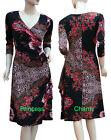 Floral Print Faux Wrap Dress Black Auburn Orange 3/4 Sleeve Size 10 12 14 16 New
