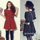 Vintage Women Half Sleeve Party Polka Dot Print Chiffon Casual Skater Mini Dress
