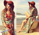 Bohemian Women Dip Dye Empire Waist Long Maxi Beach Chiffon Cardigan Dress HOT