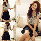 Top Summer Women's Chiffon Short Sleeve Dots Polka Waist Dress Mini Skirts New