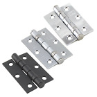 "Door Hinge 3"" 76mm Ball Bearing Butt Hinges Chrome Suit Internal Doors Pair"