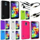 TPU Rubber Gel Soft Case+3in1 Headset Accessory For Samsung Galaxy S5 S V G900