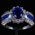 Sz 7-11 Royal Jewelry Womens Tanzanite 10KT White Gold Filled Wedding Ring