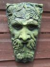 "Harvest green man keystone decorative stone home or garden plaque 28cm/10"" H"