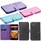 For ZTE Max N9520 Diamond Bling Wallet LEATHER Skin POUCH Case Phone Cover