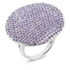 3.14 Ct Round Violet Zirconia 925 Sterling Silver Ring (314 Stones, 6.85 grams)