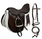 Pony Cob Horse Brown Black Leather English Bridle Reins Girth Saddle Package Set