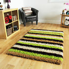 Small Large Cheap Soft Modern Lime Green Brown Striped Non Shedding Shaggy Rugs