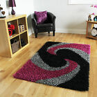 Thick Anti Shed Grey Black Pink Shaggy Rug Long Shag Pile Warm Soft Bedroom Rugs