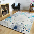 Small Vibrant Blue Grey Floral Rugs New Stylish Dandelion Print Floral Hall Rugs