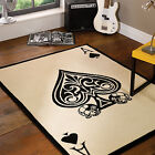 Ace Of Spades Playing Card Black Cream Flair Rugs Luxury Soft Modern Oblong Rug