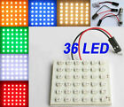 Interior Light Panel 36 SMD LED T10 BA9S Dome Festoon Bulb White/Red/Blue/Green