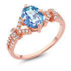 2.66 Ct Blue Mystic Quartz White Created Sapphire Rose Gold Plated Silver Ring