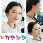 1 Pair Women's Fashion Simple Double Man Made Pearl Piercing Earrings Ear Studs