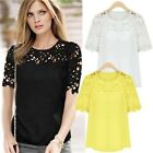 NEW Women Chiffon Sexy Lace Crochet Short Sleeve Crewneck T-Shirt Blouse Tops LA