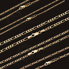 9Kt 9Ct SOLID Yellow Gold Figaro Necklace Chain 1,1.5,2,3.5mm 45/50/55/60cm FG