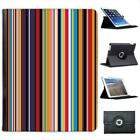 Modern Stripes Brown Cream Folio Wallet Leather Case For iPad 2, 3 & 4