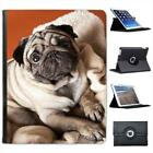 Pug Dog Sat On Blanket Folio Wallet Leather Case For iPad 2, 3 & 4