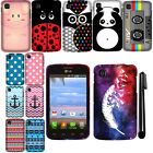 For LG Optimus Dynamic 2 L39C Rubberized PATTERN HARD Case Phone Cover + Pen