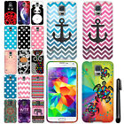 For Samsung Galaxy S5 G900 Rubberized Design PATTERN HARD Case Phone Cover + Pen