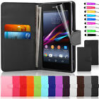 Fits Sony Xperia Z1 Wallet Flip Leather Case Cover Free Screen Protector