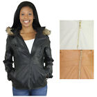 Rocawear Boroughs of Honor Women's PU Leather Hooded Coat Jacket
