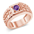 0.45 Ct Purple VS Amethyst 18K Rose Gold Plated Silver Men's Solitaire Ring