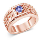 0.46 Ct Round Blue AAA Tanzanite 925 Rose Gold Plated Silver Men's Ring
