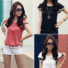Chic Womens Flouncing Cotton T-Shirt Tops Short Sleeve Casual Korea Loose Blouse