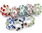 Crystal Rhinestone Paved Silver Plated Zinc Alloy Spacer Beads for Craft 10pcs
