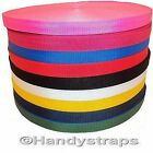 "100 meter x 20mm Polypropylene 3/4"" Webbing Red Yellow Blue White Black Green"