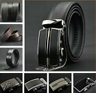 Black Brown Men Automatic Buckle Leather Belt /Auto-Buckle / Real Leather Belt Y