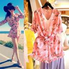 Women Floral Chiffon Casual Playsuit Beach Jumpsuit Dress Romper Shorts Pink -LA