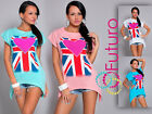 ☼ Sexy Womens Top UK FLAG Print ☼ Boat Neck Short Sleeve T-Shirt Sizes 8-14 MM03