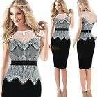 Womens ColorBlock Lace Office Wear Bandage Bodycon Pencil Midi Shift Dress D778